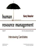 Dessler ch 7 interviewing candidates