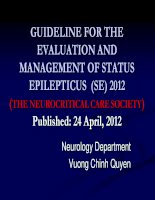 Guideline for the evaluation and management of status epilepticus (SE) 2012 (the neurocritical care society)