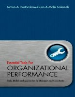 Essential  tools for organizational performance  tools, models and approaches for managers and consultants