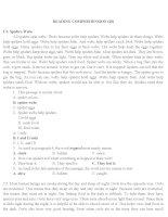 Đáp án phần đọc hiểu Anh văn thi công chức Tỉnh Quảng Nam 2016
