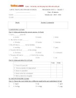 Bộ đề ôn thi học kỳ 1 môn tiếng Anh lớp 7 trường THCS Liêng Trang, Lâm Đồng CÓ ĐÁP ÁN