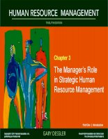 Dessler HRM 12e ch 03 the managers role in strategic HRM