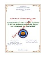 Thực trạng công tác quản lý thuế Giá trị gia tăng và thuế Thu nhập doanh nghiệp đối với các doanh nghiệp tại Chi cục thuế huyện Quảng Điền, tỉnh Thừa Thiên Huế