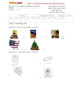 Đề thi học kì 1 môn Tiếng Anh lớp 4 trường Tiểu học Quảng Văn số 1, Quảng Bình năm 2014 - 2015