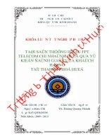 Tài sản thương hiệu FPT Telecom Chi nhánh Huế qua ý kiến đánh giá của khách hàng tại thành phố Huế