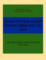 202 bài tập trắc nghiệm phương trình mặt cầu trong oxyz