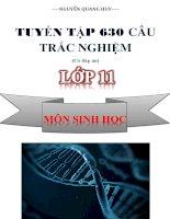 Tuyển tập 630 câu hỏi trắc nghiệm sinh học lớp 11 (có đáp án)