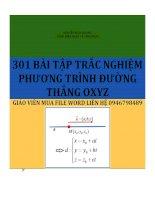 301 BAI TAP TRAC NGHIEM PHUONG TRINH DUONG THANG OXYZ