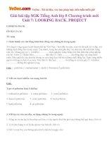 Giải bài tập SGK Tiếng Anh lớp 8 Chương trình mới Unit 7: LOOKING BACK, PROJECT
