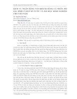 DỊCH VỤ NGÂN HÀNG VỚI KHÁCH HÀNG CÁ NHÂN, HỘ GIA ĐÌNH Ở MỘT SỐ NƯỚC VÀ BÀI HỌC KINH NGHIỆM CHO VIỆT NAM