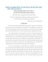 PHÂN LOẠI BỆNH QUỐC TẾ LẦN THỨ 10 VỀ CÁC RỐI LOẠN TÂM THẦN VÀ HÀNH VI