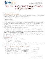Bài tập trắc nghiệm ngữ pháp tiếng anh thi tốt nghiệp THPT QG (có đáp án)