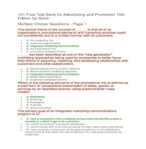 101 Test Bank For Advertising And Promotion 10th Edition By Belch Par 1