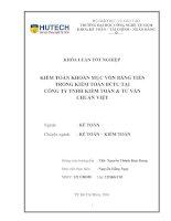 Kiểm toán khoản mục tiền trong báo cáo tài chính tại công ty TNHH kiếm toán và tư vấn chuẩn việt