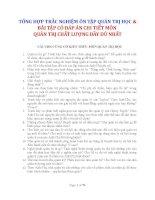 TỔNG HỢP TRẮC NGHIỆM ÔN TẬP QUẢN TRỊ HỌC & BÀI TẬP CÓ ĐÁP ÁN CHI TIẾT MÔN QUẢN TRỊ CHẤT LƯỢNG ĐẦY ĐỦ NHẤT