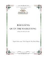 Quản trị Marketing bài giảng, giáo trình dành cho sinh viên đại học, cao đẳng