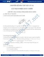 Chuyên đề Bài tập Mạch điện xoay chiều theo dạng và có lời giải chi tiết
