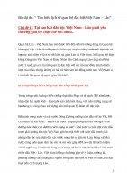 """Bài dự thi: """" Tìm hiểu lịch sử quan hệ đặc biệt Việt Nam – Lào""""  Chủ đề 12  Tại sao hai dân tộc Việt Nam  Lào phải yêu thương gắn bó chặt chẽ với nhau."""