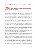 """Bài dự thi: """" Tìm hiểu lịch sử quan hệ đặc biệt Việt Nam – Lào""""  Chủ đề 11:      Tại sao các thế lực thù địch xuyên tạc gây chia rẻ quan hệ đặc biệt Việt Nam lào, lào Việt Nam."""