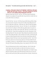 """Bài dự thi: """" Tìm hiểu lịch sử quan hệ đặc biệt Việt Nam – Lào""""  Chủ đề 8:   Tầm quan trọng của việc giữ gìn và phát huy mối quan hệ đặc biệt Việt Nam Lào, lào – Việt Nam trong lịch sử của hai dân tộc và trên những chẳng đường phát triển mới."""