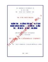 HOÀN THIỆN CÔNG tác QUẢN lý CHI NGÂN SÁCH NHÀ nước TRÊN địa bàn THỊ xã BA đồn, TỈNH QUẢNG BÌNH