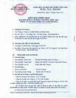Biên bản Đại hội đồng cổ đông thường niên năm 2014