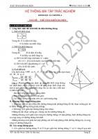 Trắc nghiệm Hình 12 Chương 1