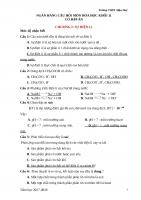 NGÂN HÀNG câu hỏi môn hóa học khối 11 có đáp án