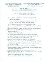Thông báo đăng ký giao dịch cổ phiếu quỹ