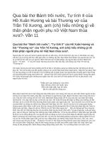 Qua bài thơ Bánh trôi nước, Tự tình II của Hồ Xuân Hương và bài Thương vợ của Trần Tế Xương, anh (chị) hiểu những gì về thân phận người phụ nữ Việt Nam thủa xưa? Văn 11