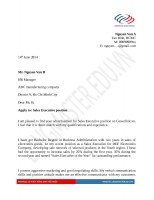 Mẫu đơn xin việc bằng Tiếng Anh ngành NHÂN VIÊN KINH DOANH