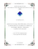KHẢO sát các đặc TÍNH NÔNG học, NĂNG SUẤT và PHẨM CHẤT của 14 GIỐNG lúa THƠM tại XUÂN HIỆP   TRÀ ôn – VĨNH LONG vụ ĐÔNG XUÂN 2012   2013
