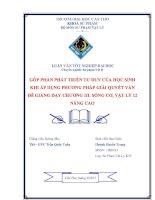 LUẬN văn sư PHẠM vật lý góp PHẦN PHÁT TRIỂN tư DUY của học SINH KHI áp DỤNG PHƯƠNG PHÁP GIẢI QUYẾT vấn đề GIẢNG dạy CHƯƠNG III  SÓNG cơ, vật lý 12 NÂNG CAO