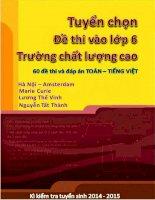 Tuyển chọn đề thi Toán, Tiếng Việt vào lớp 6 Trường chất lượng cao