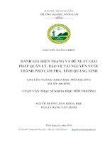 Đánh giá hiện trạng và đề xuất giải pháp quản lý, bảo vệ tài nguyên nước thành phố Cẩm Phả, tỉnh Quảng Ninh (Luận văn thạc sĩ)