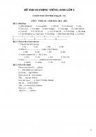 ĐỀ THI OLYMPIC TIẾNG ANH lớp 3 LUYỆN THI cấp TỈNH (vòng 26 – 35)