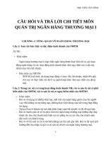 CÂU HỎI VÀ TRẢ LỜI CHI TIẾT MÔN QUẢN TRỊ NGÂN HÀNG THƯƠNG MẠI 1 HVTC