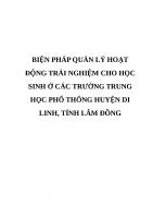 BIỆN PHÁP QUẢN lý HOẠT ĐỘNG TRẢI NGHIỆM CHO học SINH ở các TRƯỜNG TRUNG học PHỔ THÔNG HUYỆN DI LINH, TỈNH lâm ĐỒNG