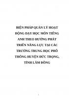 BIỆN PHÁP QUẢN lý HOẠT ĐỘNG dạy học môn TIẾNG ANH THEO HƯỚNG PHÁT TRIỂN NĂNG lực tại các TRƯỜNG TRUNG học PHỔ THÔNG HUYỆN đức TRỌNG, TỈNH lâm ĐỒNG