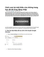 Cách xem lại mật khẩu của những trang bạn đã đã từng đăng nhập
