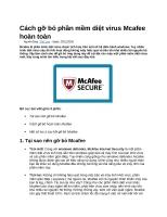 Cách gỡ bỏ phần mềm diệt virus mcafee hoàn toàn