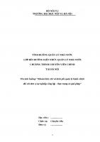 """TÌNH HUỐNG QUẢN LÝ NHÀ NƯỚC  LỚP BỒI DƯỠNG KIẾN THỨC QUẢN LÝ NHÀ NƯỚC CHƯƠNG TRÌNH CHUYÊN VIÊN CHÍNH """"Khoán biên chế và kinh phí quản lý hành chính đối với đơn vị sự nghiệp công lập  thực trạng và giải pháp"""""""