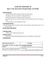 Giáo án Sinh học 10 bài 3: Các nguyên tố hóa học và nước