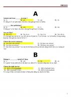 TIẾNG ANH - ENG101 - NGÂN HÀNG CÂU HỎI TRẮC NGHIỆM  - TOPICA