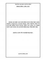 ĐÁNH GIÁ HIỆU QUẢ mô HÌNH NUÔI tôm THẺ CHÂN TRẮNG (litopenaeus vannamei boone, 1931) TRONG NHÀ SO với mô HÌNH NUÔI NGOÀI TRỜI tại CÔNG TY TNHH THỦY sản TOÀN cầu HUYỆN BÌNH đại, TỈNH bến TRE