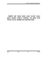 THIẾT kế NHÀ máy sản XUẤT VALI kéo BẰNG NHỰA CHỐNG VA đập với NĂNG SUẤT 30 000 sản PHẨM trên năm