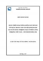 Hoàn thiện hoạt động kiểm soát rủi ro tín dụng trong cho vay hộ kinh doanh tại ngân hàng TMCP công thương việt nam  chi nhánh đăk lắk