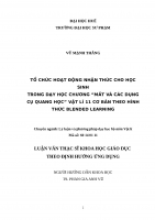 """TỔ CHỨC HOẠT ĐỘNG NHẬN THỨC CHO HỌC SINH TRONG DẠY HỌC CHƯƠNG """" MẮT VÀ CÁC DỤNG CỤ QUANG HỌC"""" VẬT LÍ 11 CƠ BẢN THEO HÌNH THỨC BLENDED LEARNING"""