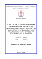 Nghiên cứu mối liên quan giữa kháng thể kháng nucleosome và c1q với mức độ hoạt động của bệnh và tổn thương thận trong lupus ban đỏ hệ thống trẻ em   copy tt tiếng anh