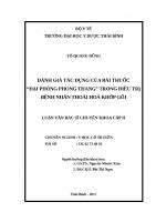"""ĐÁNH GIÁ tác DỤNG của bài THUỐC """"đại PHÒNG PHONG THANG"""" TRONG điều TRỊ BỆNH NHÂN THOÁI HOÁ KHỚP gối"""